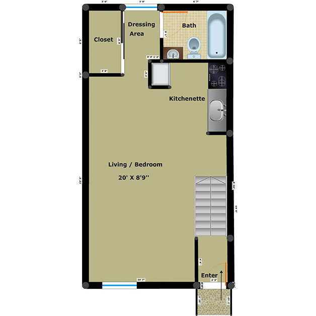 Efficiency 1 bathroom floor plan of Forest Ridge townhouses for rent in Richmond, VA